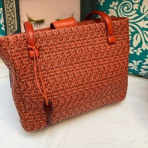 Fossil Red Summer Woven Soft Straw Shoulder Bag